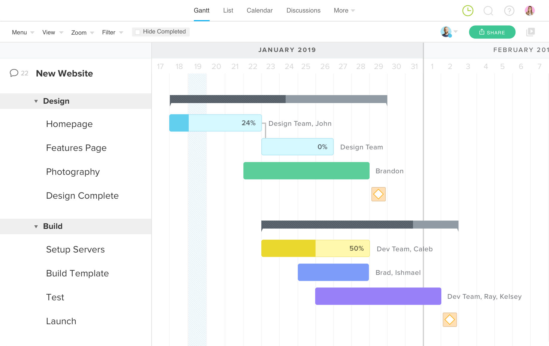 TeamGantt timelines