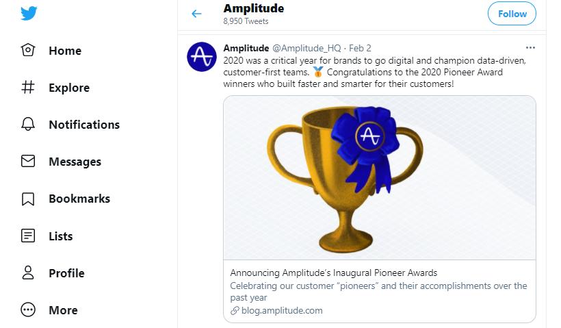Amplitude for analytics