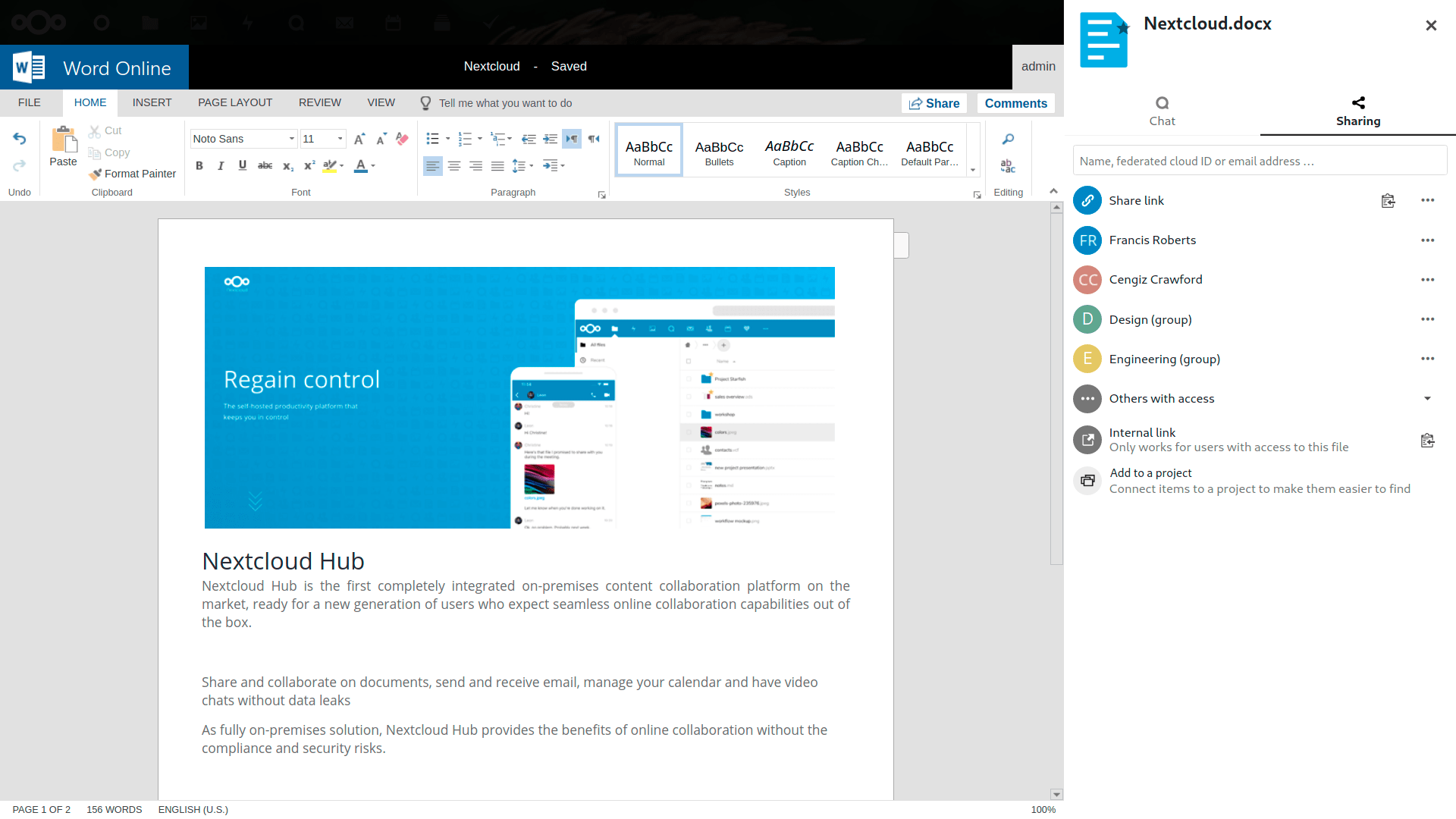 Office Online for collaboration