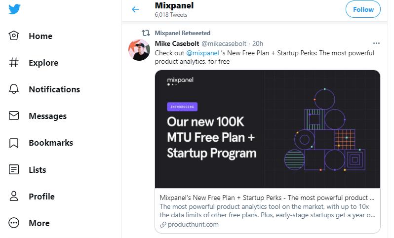 Mixpanel for analytics