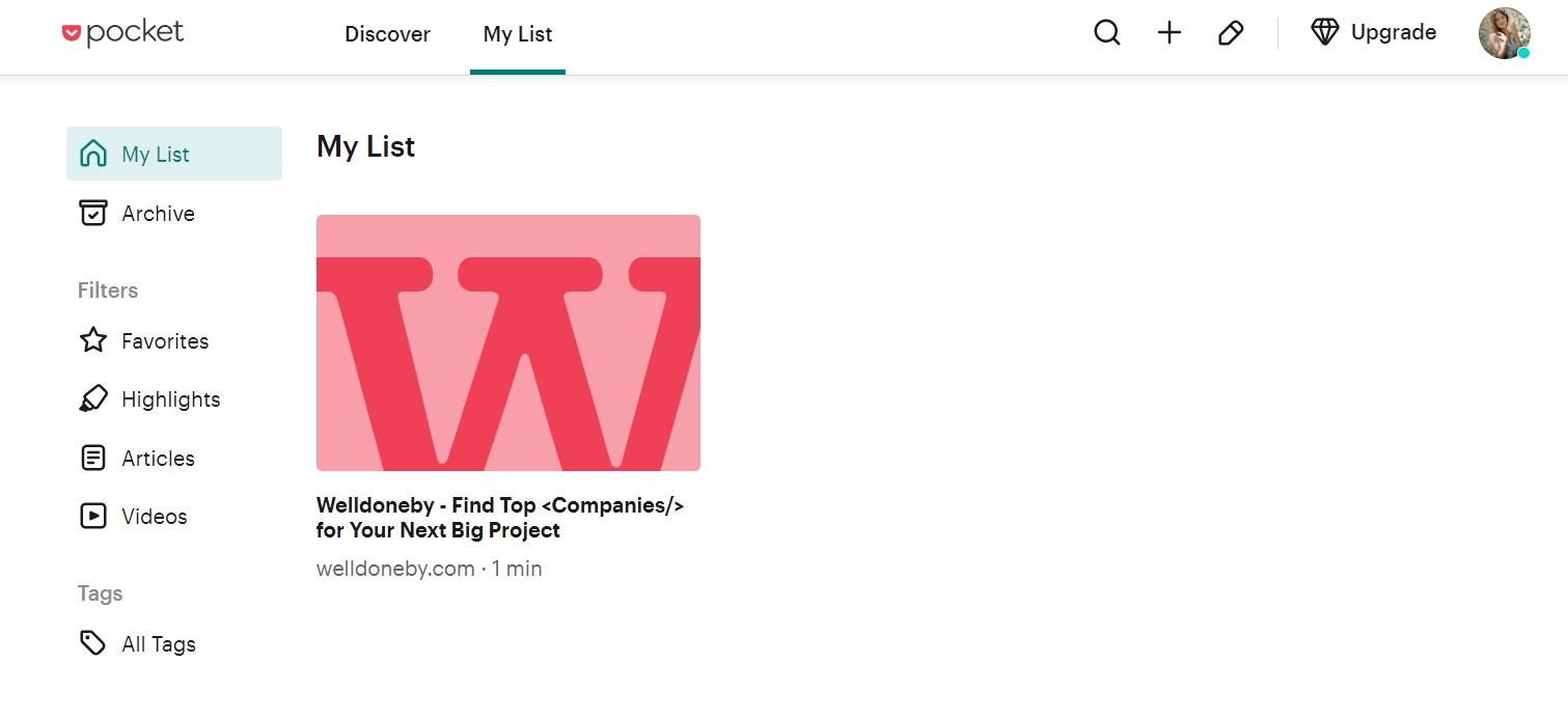 Pocket app for collaboration